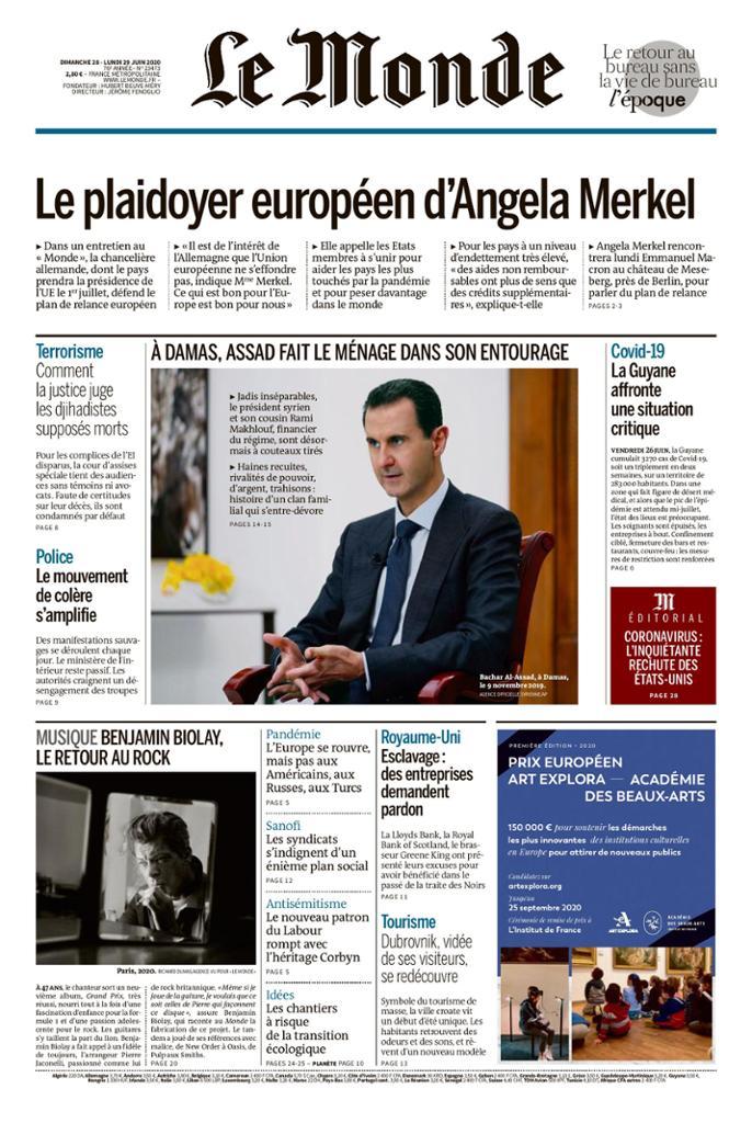 Le Monde, June 29: Merkel's role