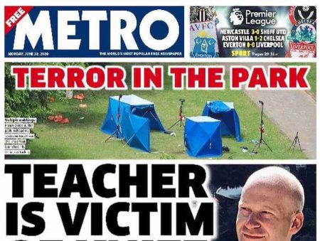 UK newspapers front page: terrorist attack kills 3