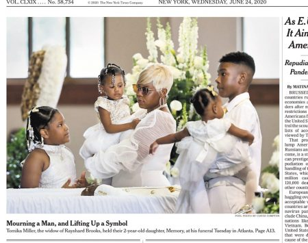 New York Times front page: farewell to Rayshard Brooks