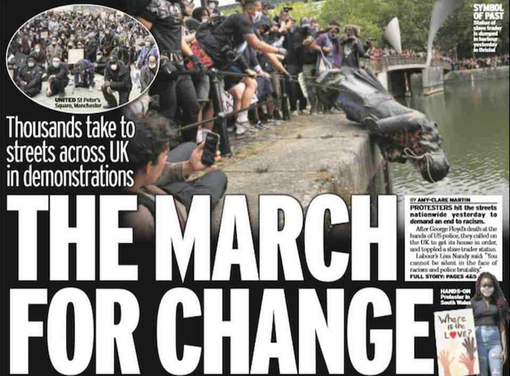 UK newspapers front page: statue dropped and thrown into river