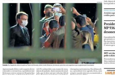 Front page of Brazilian newspapers: waiting for Bolsonaro's exam