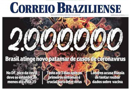 Front page of Brazilian newspapers: 2 million contaminated