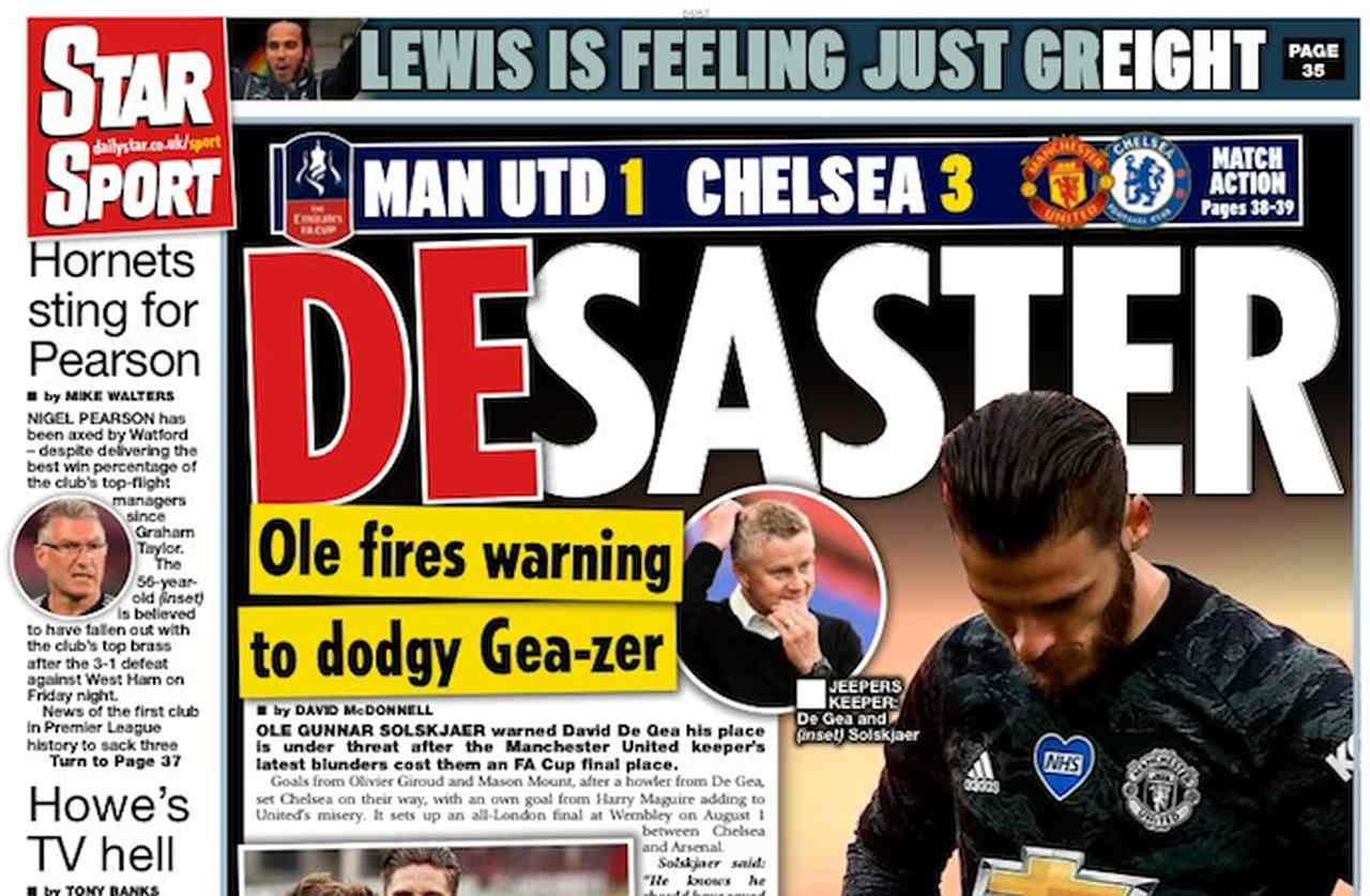 Front page of sports newspapers: Chelsea in the final