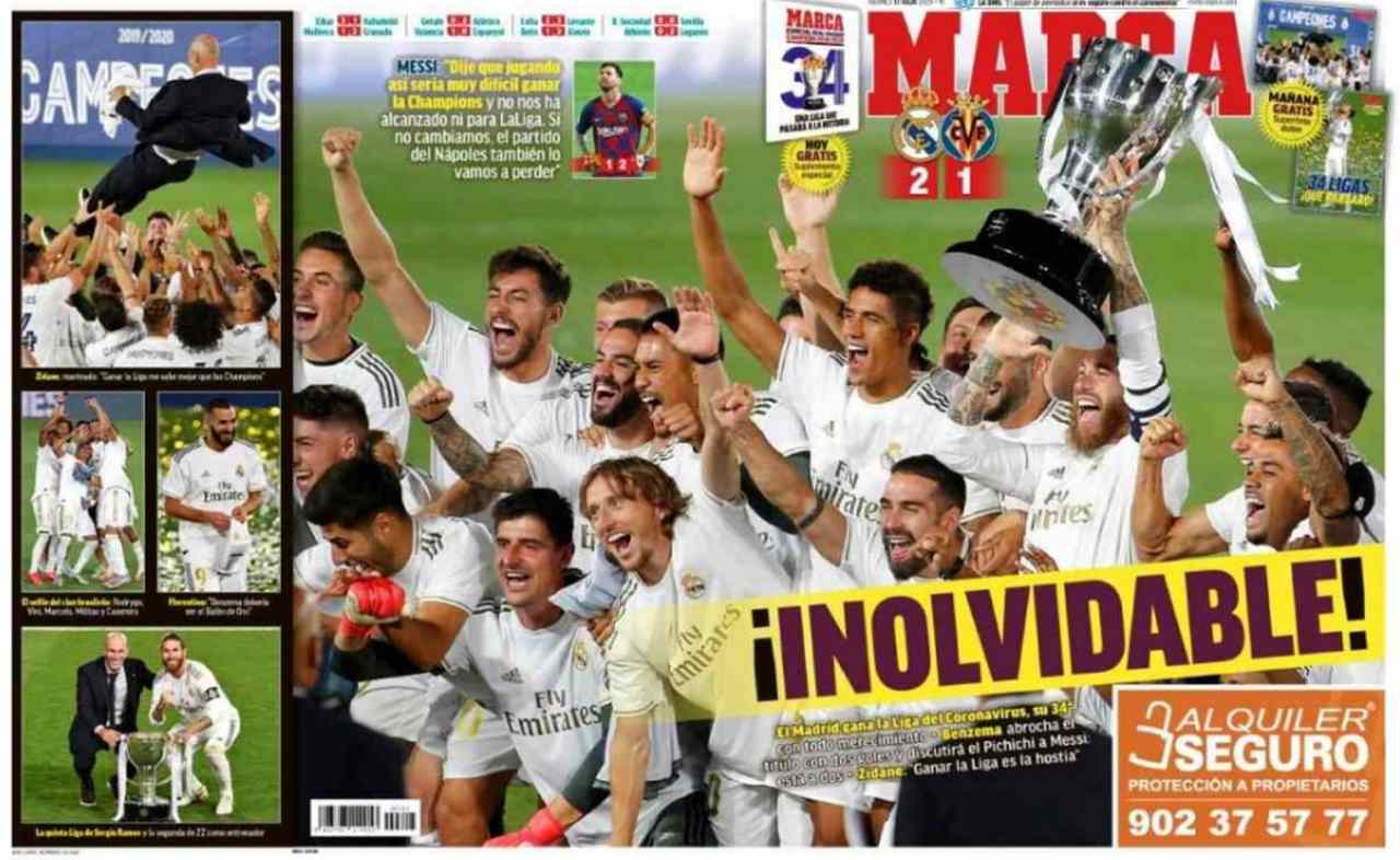 Front page of sports newspapers: Real Madrid champion