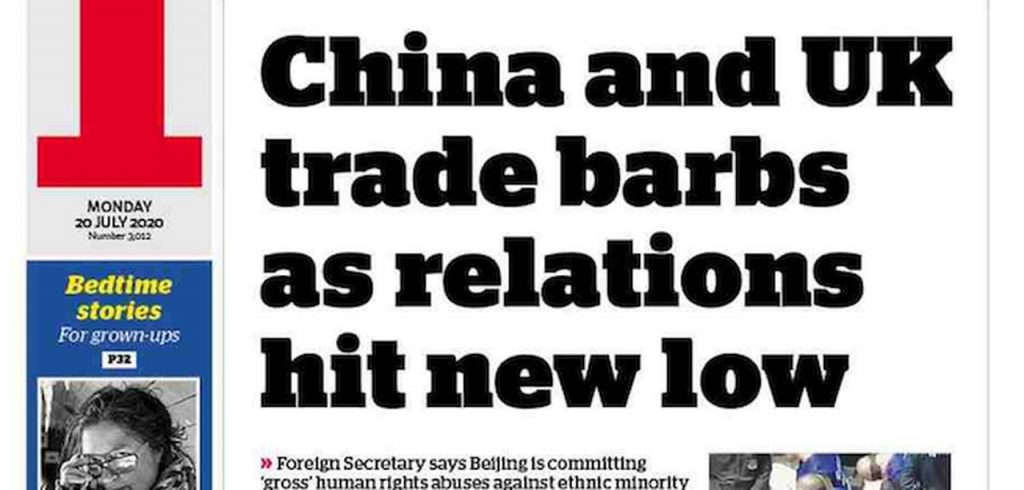Front page of the world's newspapers: UK threatens China