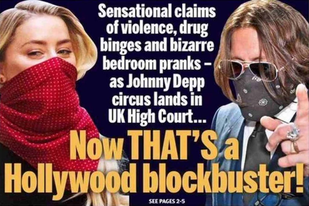 UK newspapers front page: Johnny Deep X The Sun