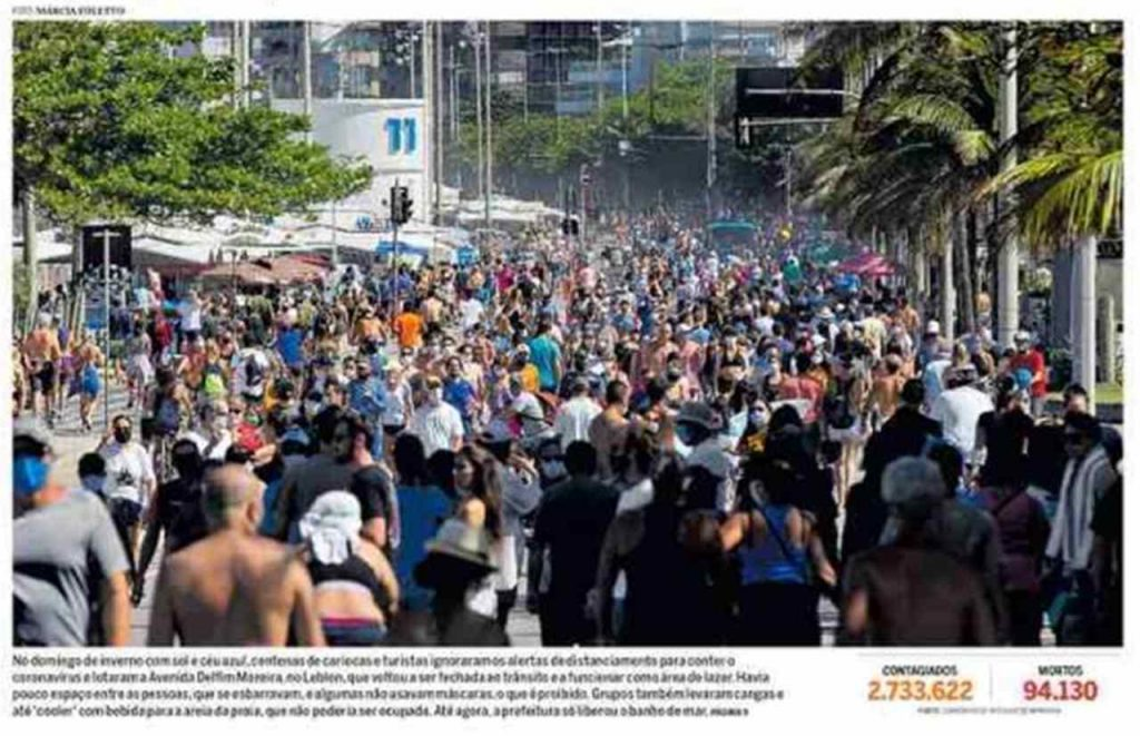 Front page of Brazilian newspapers: weekend of crowded streets