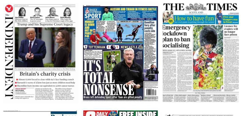 Newspapers front pages: september 28, 2020