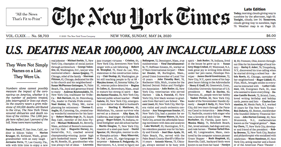 New York Times historical and unprecedented cover: United States reaches 100 thousand dead by Covid