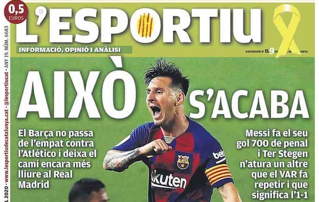 Front page of European sports newspapers: Messi scores his 700th goal