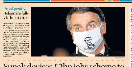First page of the Financial Times: Bolsonaro with Coronavirus
