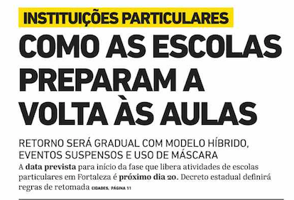 Front page of Brazilian newspapers: back to school