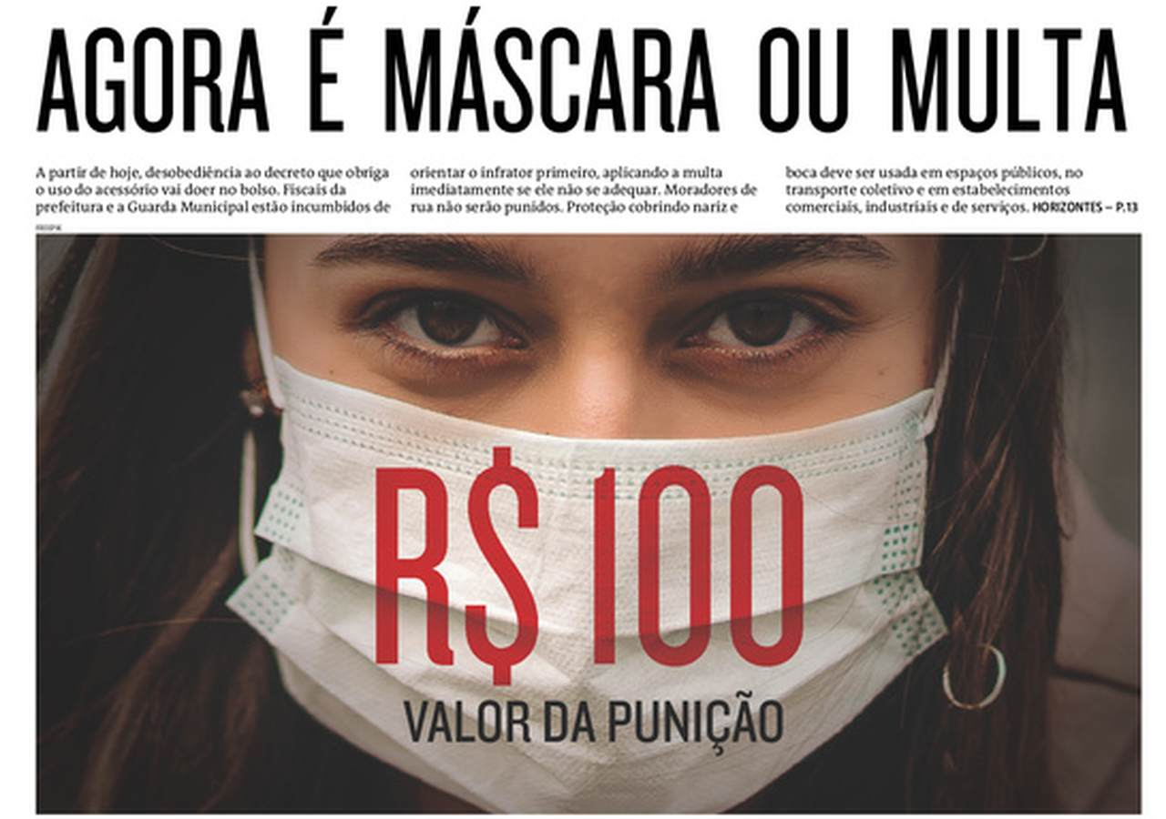 Front pages of Brazilian newspapers: mandatory use of masks
