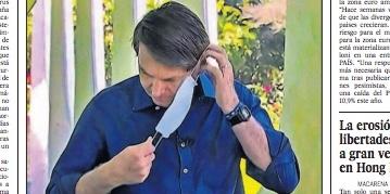 Front page of El País: 'Bolsonaro gets contaminated, but minimizes pandemic'