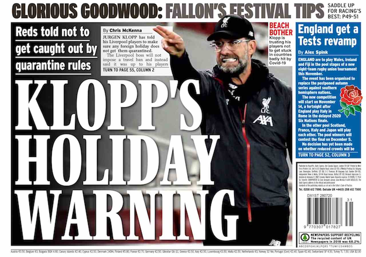 Sports newspaper cover: Klopp, coach of the year