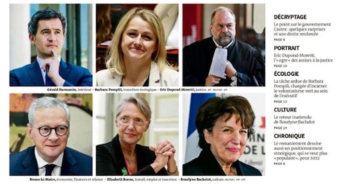 The faces of French politics: Le Monde front page